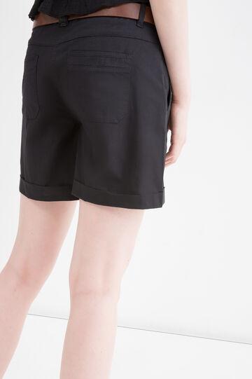 Solid colour stretch cotton shorts, Black, hi-res