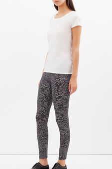 Stretch leggings with all-over print., White/Black, hi-res