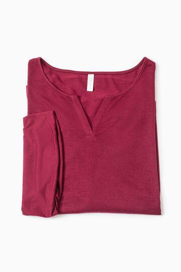 Solid colour viscose pyjama top, Dark Red, hi-res