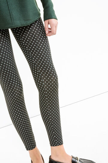 Stretch cotton leggings with all-over print, Black, hi-res