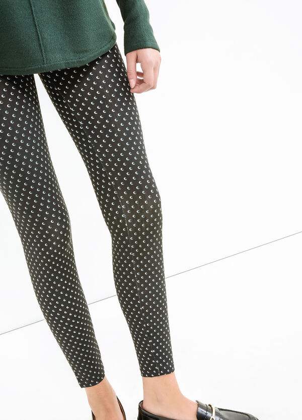 Stretch cotton leggings with all-over print | OVS