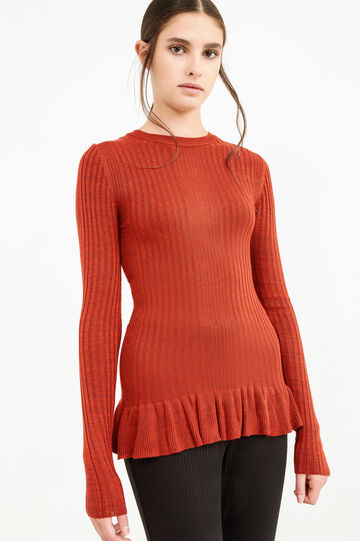 Patterned knitted pullover in 100% cotton, Red, hi-res