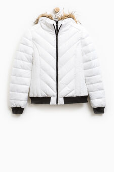 Bomber jacket with faux fur hood, Milky White, hi-res