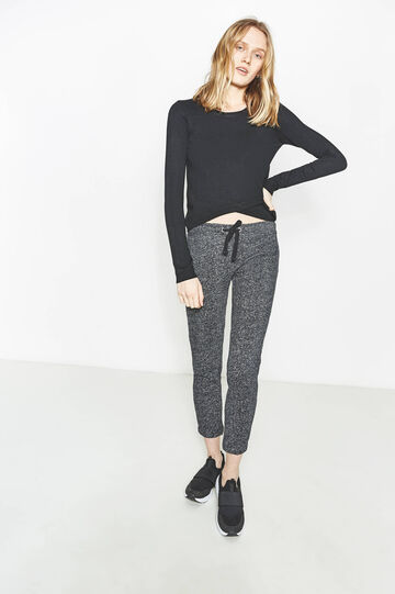 Pantaloni tuta in puro cotone mélange, Bianco/Nero, hi-res