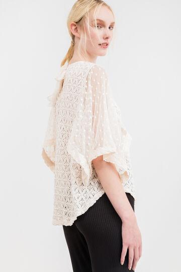 Cotton openwork T-shirt, Chalk White, hi-res