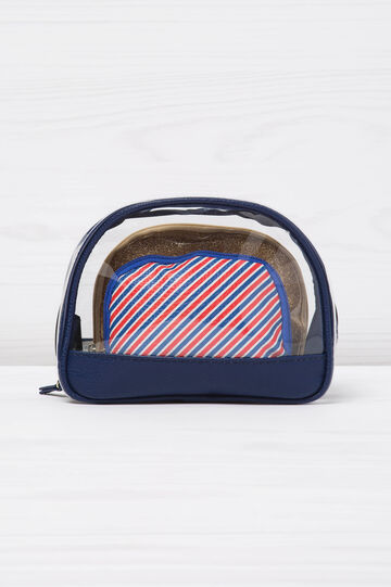 Transparent travel beauty case with two small bags, White/Blue, hi-res