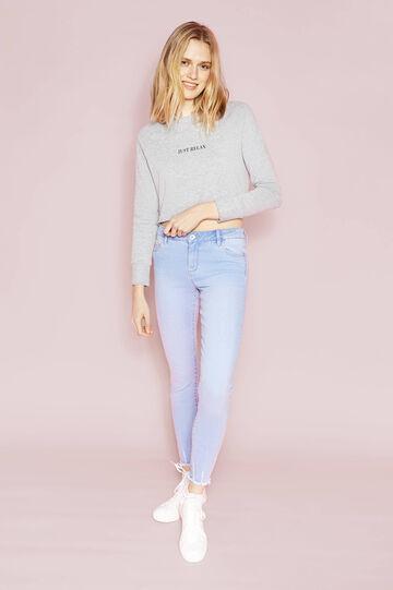 Skinny-fit stretch jeans with fringed hem, Soft Blue, hi-res
