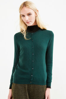 Solid colour wool blend cardigan, Forest Green, hi-res