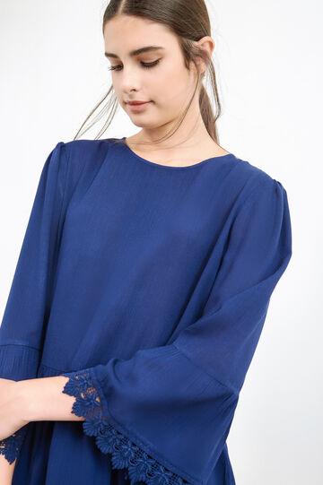 100% viscose blouse with flounces, Blue, hi-res