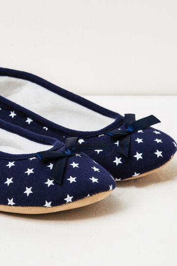 Ballerina slippers with star pattern, Blue, hi-res