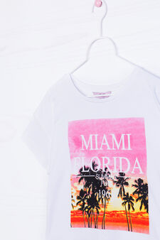 Printed crop T-shirt in 100% cotton, White, hi-res