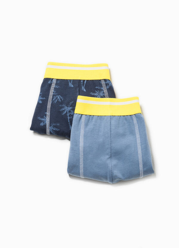 Two-pack solid colour and  palm tree patterned boxer shorts | OVS