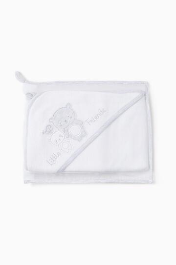 Accappatoio con patch e custodia, Bianco/Grigio, hi-res