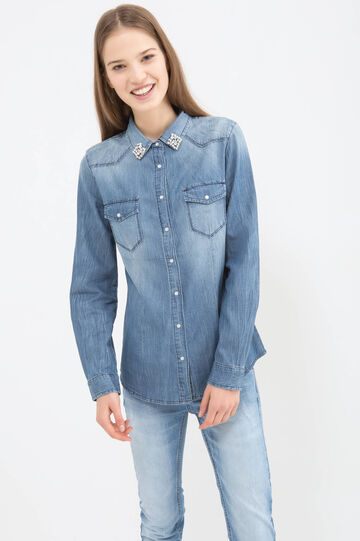 Denim blouse with faded effect
