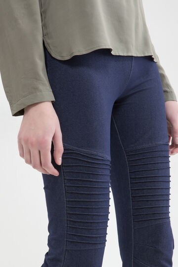 Solid colour stretch leggings, Blue, hi-res