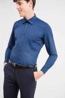 Slim-fit formal shirt in cotton blend, Dark Blue, hi-res