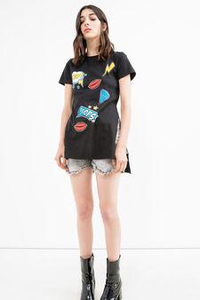 T-shirt cotone con stampa e spacchi, Nero, hi-res