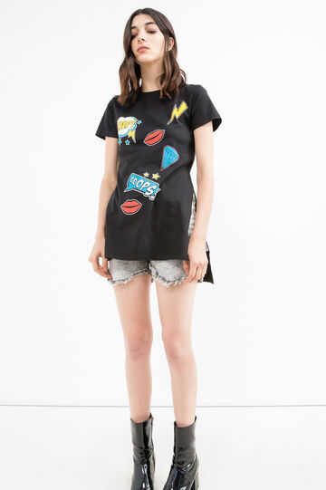T-shirt in cotton with print and splits, Black, hi-res