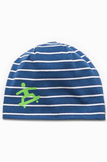Cappello a cuffia a righe con stampa, Bianco/Blu, hi-res