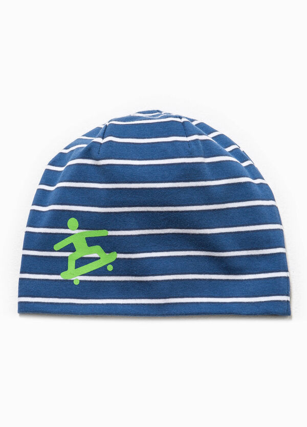 Striped beanie cap with print | OVS