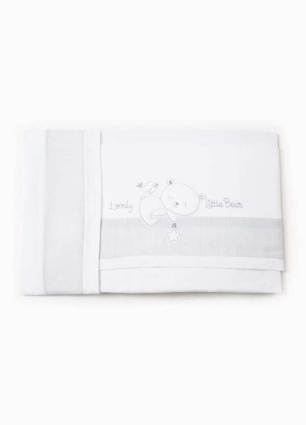 Cotton sheet with embroidery and stripes | OVS