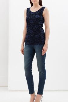 Floral lace top, Navy Blue, hi-res