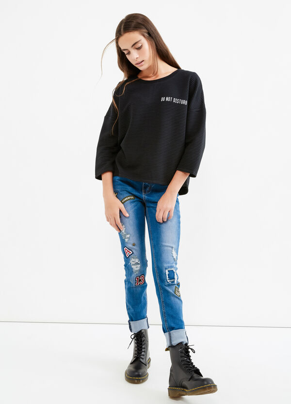 Teen cotton sweatshirt with printed lettering | OVS