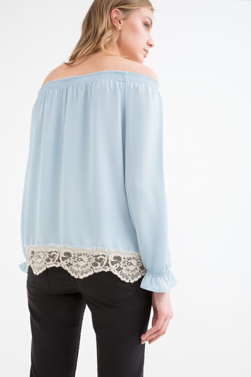 Blouse with boat neck, Light Blue, hi-res