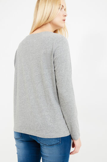 Curvy crew neck T-shirt with ribbing, Grey Marl, hi-res