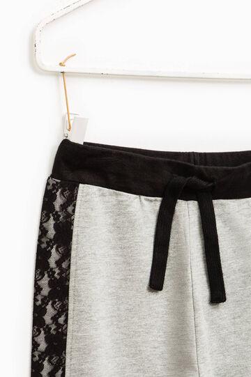 Pantalón de chándal de algodón con encaje, Gris claro, hi-res