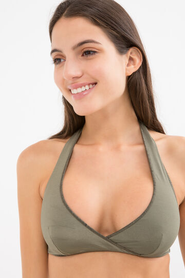 Solid colour stretch triangular top, Sage Green, hi-res