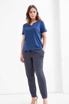 Curvy cotton T-shirt with diamantés, Blue, hi-res