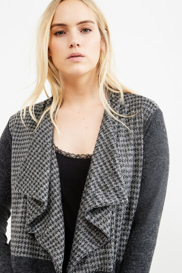 Curvy hound's tooth cardigan, Grey, hi-res