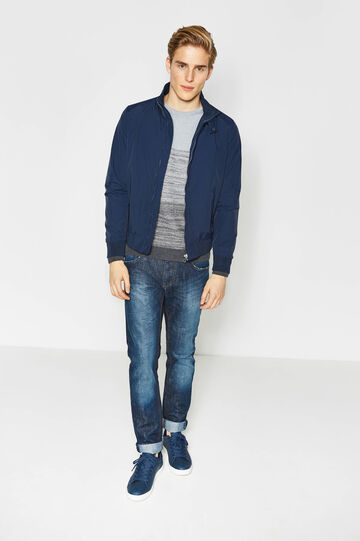 Jacket with high neck and ribbing, Navy Blue, hi-res