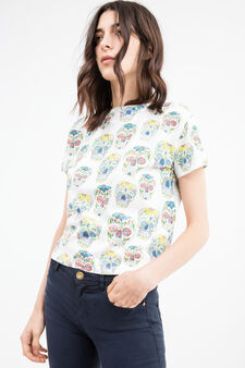 Skull patterned cotton cropped T-shirt, Milky White, hi-res