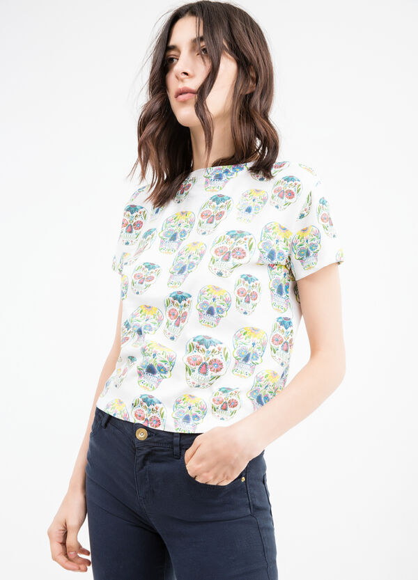 Skull patterned cotton cropped T-shirt | OVS