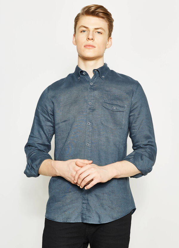 Casual linen shirt with button down collar | OVS