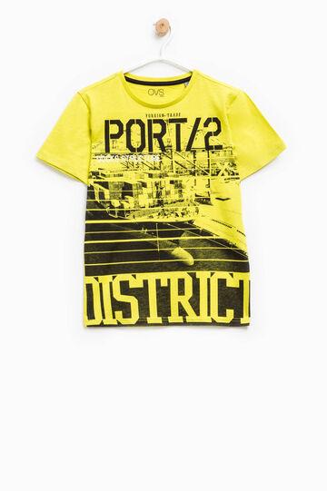 Cotton T-shirt with maxi print, Yellow, hi-res