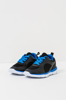 Sneakers with laces, Black/Blue, hi-res