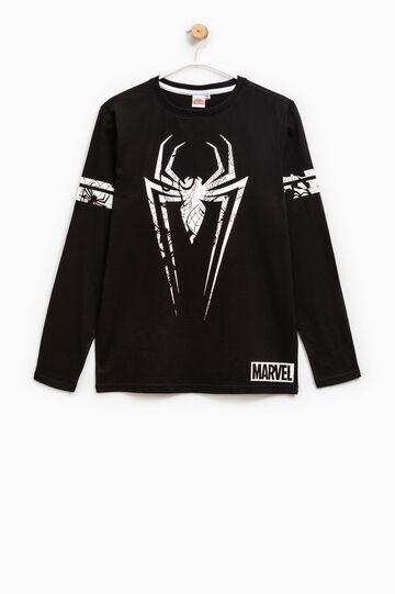 T-shirt cotone stampa Spiderman, Nero, hi-res