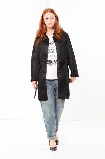 Curvyglam openwork coat, Black, hi-res