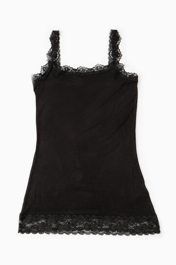 Stretch undervest with lace, Black, hi-res