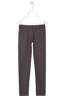 Rhinestone stretch leggings, Grey, hi-res