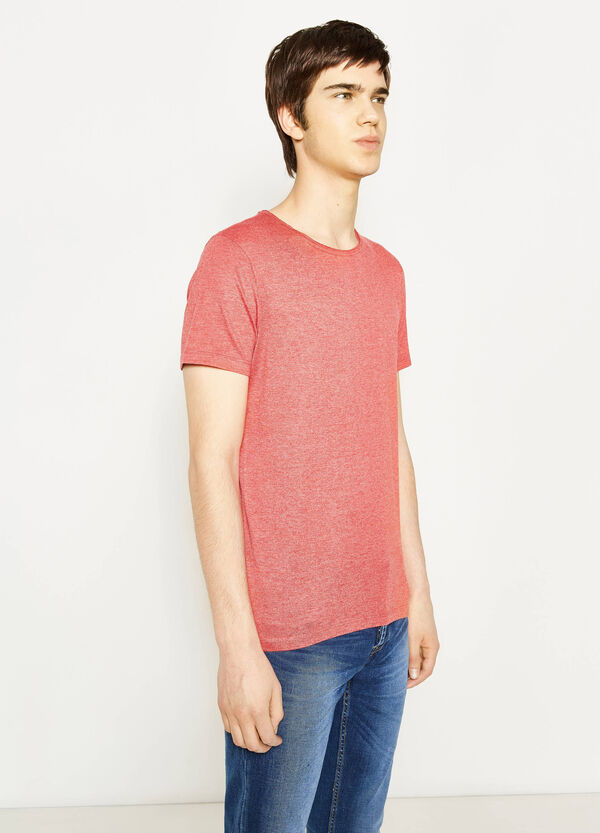 Solid colour cotton blend T-shirt | OVS