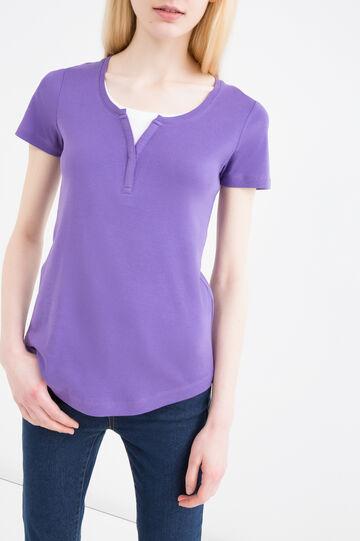 Faux layered 100% cotton T-shirt, Lilac, hi-res
