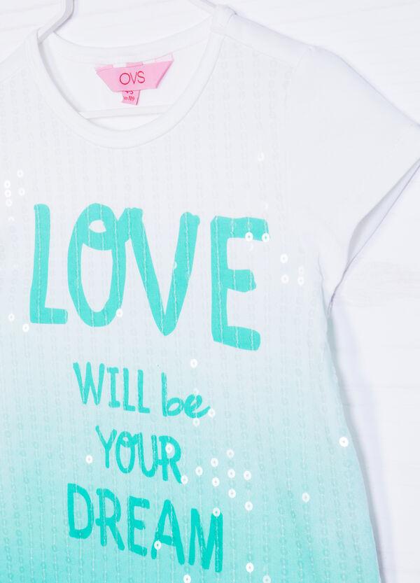 T-shirt cotone degradé con paillettes | OVS