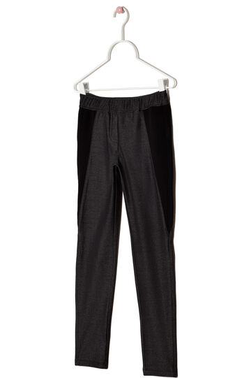 Pantaloni misto cotone stretch texture rigata, Nero, hi-res