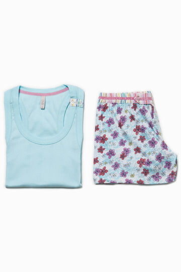 Floral pyjamas with striped inserts