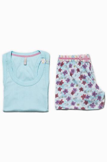 Pijama floral con inserciones de rayas