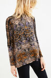 Stretch viscose T-shirt with lace insert, Tobacco Brown, hi-res